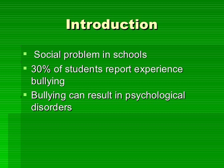 an introduction to the social problem of bullying It also elucidated the legal and ethical implications for cyber bullying in the social  bullying implications 1 introduction  the cyber bullying problem.