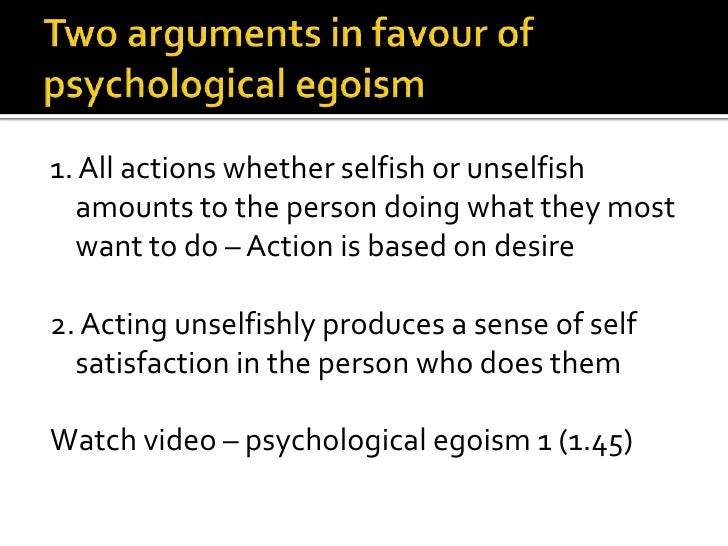 egoism as a psychological theory
