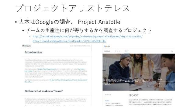 プロジェクトアリストテレス • 大本はGoogleの調査、 Project Aristotle • チームの生産性に何が寄与するかを調査するプロジェクト • https://rework.withgoogle.com/jp/guides/und...