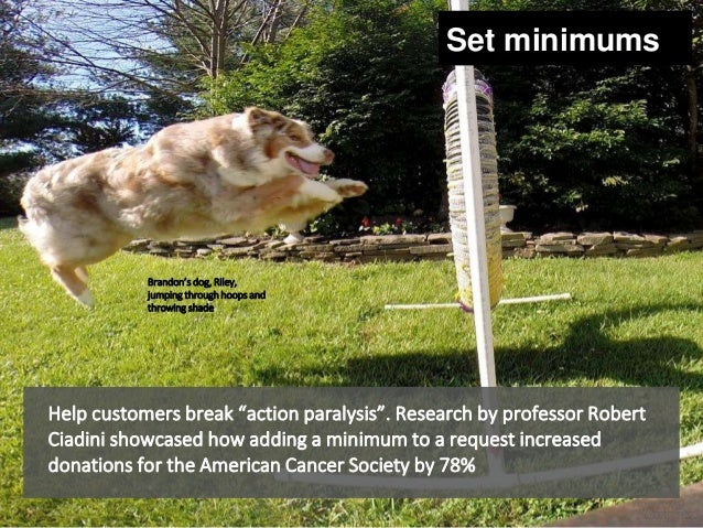 """Help customers break """"action paralysis"""". Research by professor Robert Ciadini showcased how adding a minimum to a request ..."""