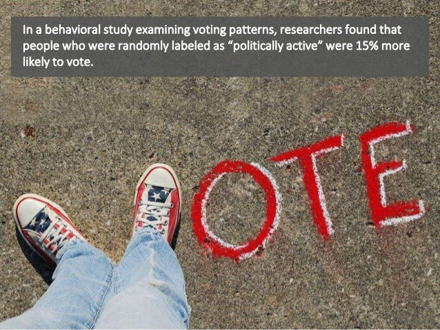 """In a behavioral study examining voting patterns, researchers found that people who were randomly labeled as """"politically a..."""