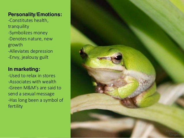 Green Personality/Emotions: -Constitutes health, tranquility -Symbolizes money -Denotes nature, new growth -Alleviates dep...