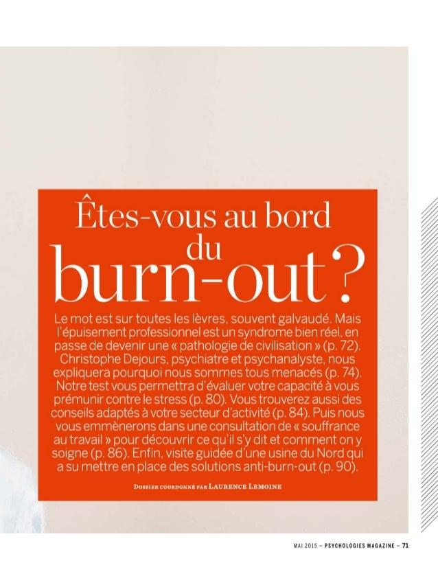 Le Burn-Out : pathologie de civilisation ?
