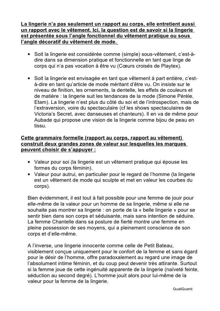 Semiologie Lingeries pour Psychologies Slide 3