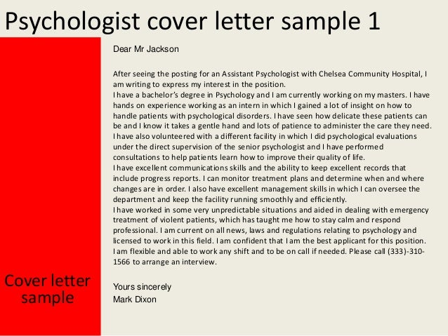 psychologist cover letter