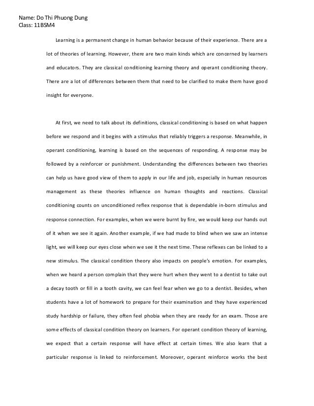 psychology essay  do thi phuong dung class 11bsm4 learning is a permanent change in human