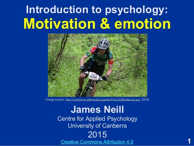 1 Introduction to psychology: Motivation & emotion James Neill Centre for Applied Psychology University of Canberra 2015 I...