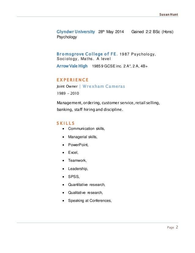 psychology graduate cv temp