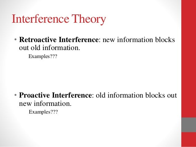 retroactive memory Proactive & retroactive interference the most frequent reason for forgetting information is difficulty in transferring it from working memory to long-term.