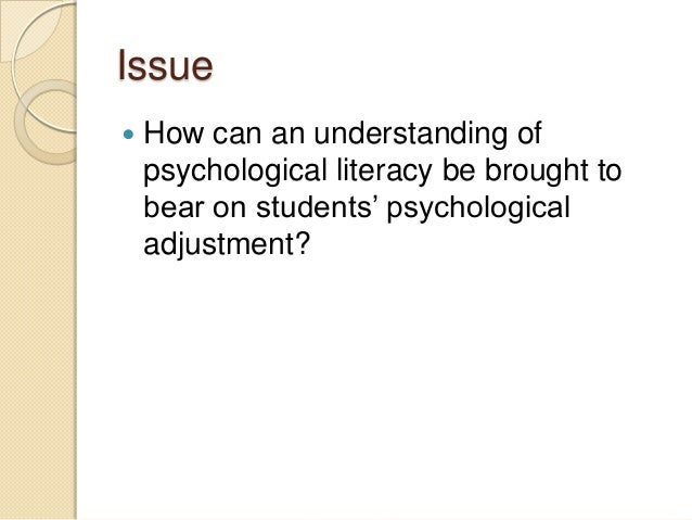 Psychology of Adjustment - Term Paper Example
