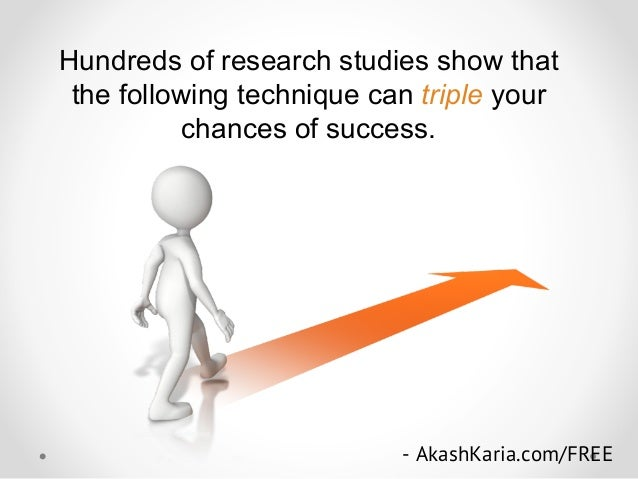 Hundreds of research studies show that the following technique can triple your chances of success. - AkashKaria.com/FREE s...