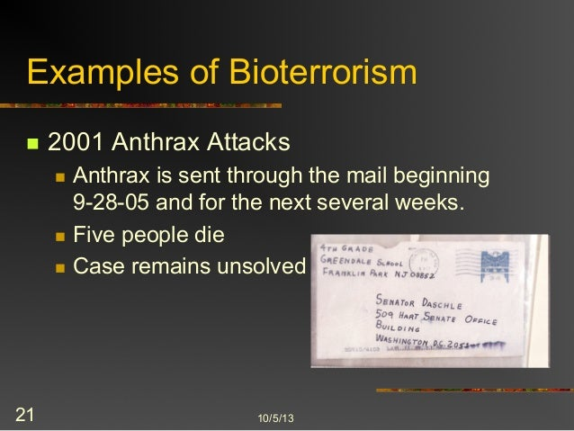 the terror of bioterrorism They moved the threat of bioterrorism, which had previously been mostly  jessica stern, taking the terror out of bioterrorism, new york times, april 8, 1998,.