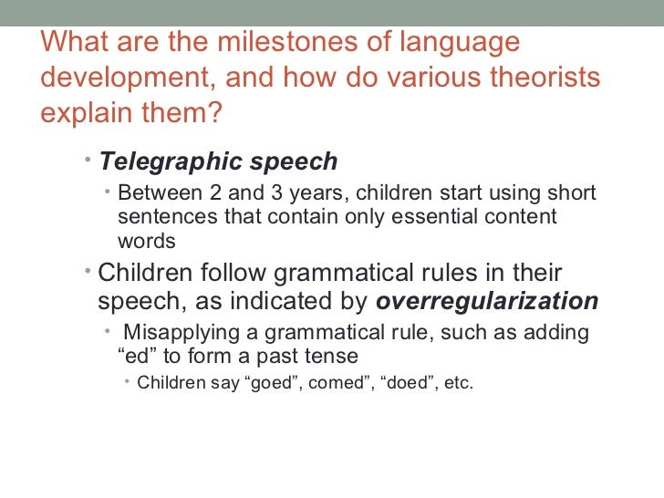 Which Of The Following Is An Example Of Telegraphic Speech? - Ex