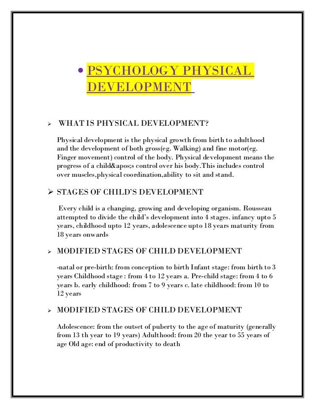 physical development from birth to 19 years old