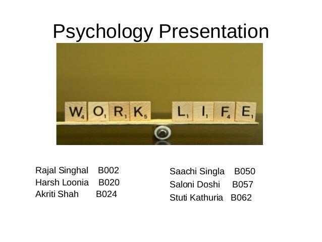 Psychology Presentation  Rajal Singhal B002 Harsh Loonia B020 Akriti Shah B024  Saachi Singla B050 Saloni Doshi B057 Stuti...