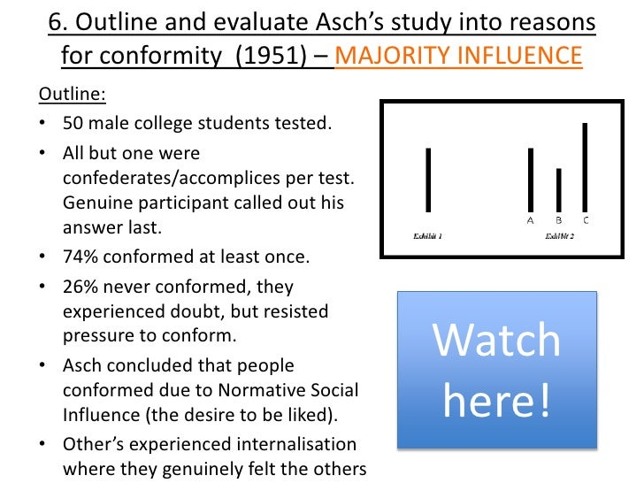 asch 1951 Start studying asch conformity study 1951 learn vocabulary, terms, and more with flashcards, games, and other study tools.