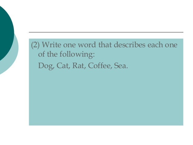 One Word That Describes Dog Cat Rat Coffee Sea Answer