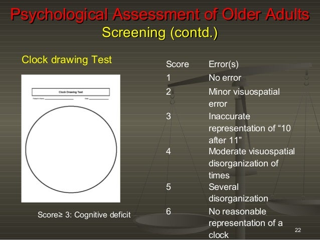 Psychometric Assessment Of Older Adults Oct 21 To 26 2013 Winter Work