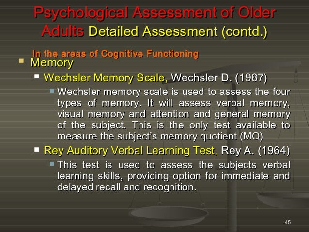 psychometric assessment of older adults oct 21 to 26 2013 winter work rh slideshare net pgi memory scale manual