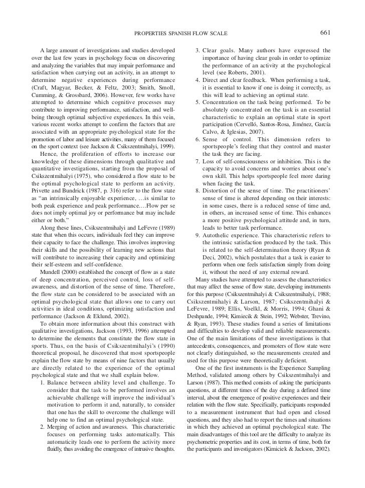 Psychometric properties of the spanish version of the flow ...