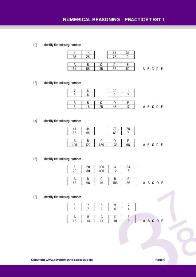 psychometric numerical reasoning test pdf