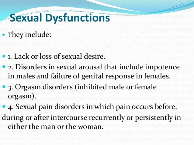 List of psycho-sexual disorders