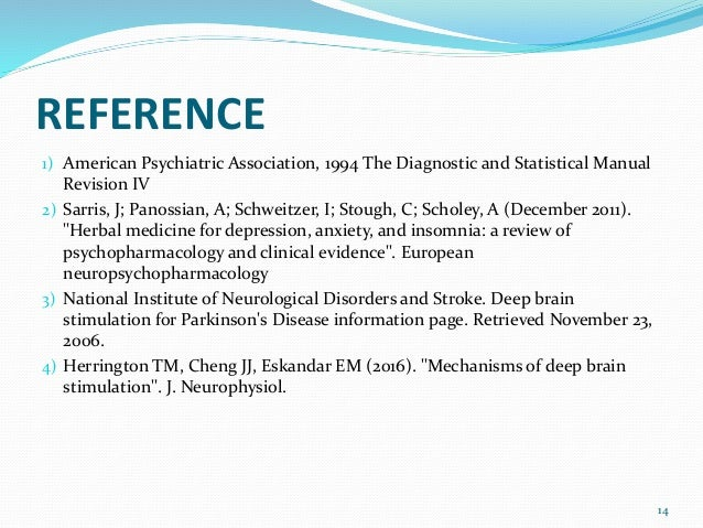 REFERENCE 1) American Psychiatric Association, 1994 The Diagnostic and Statistical Manual Revision IV 2) Sarris, J; Panoss...
