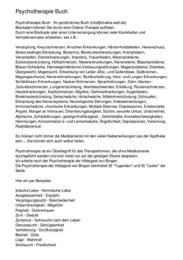 Psychotherapie BuchPsychotherapie Buch - Ihr persönliches Buch (info@chakra-welt.de)Blockaden können Sie durch eine Chakra...