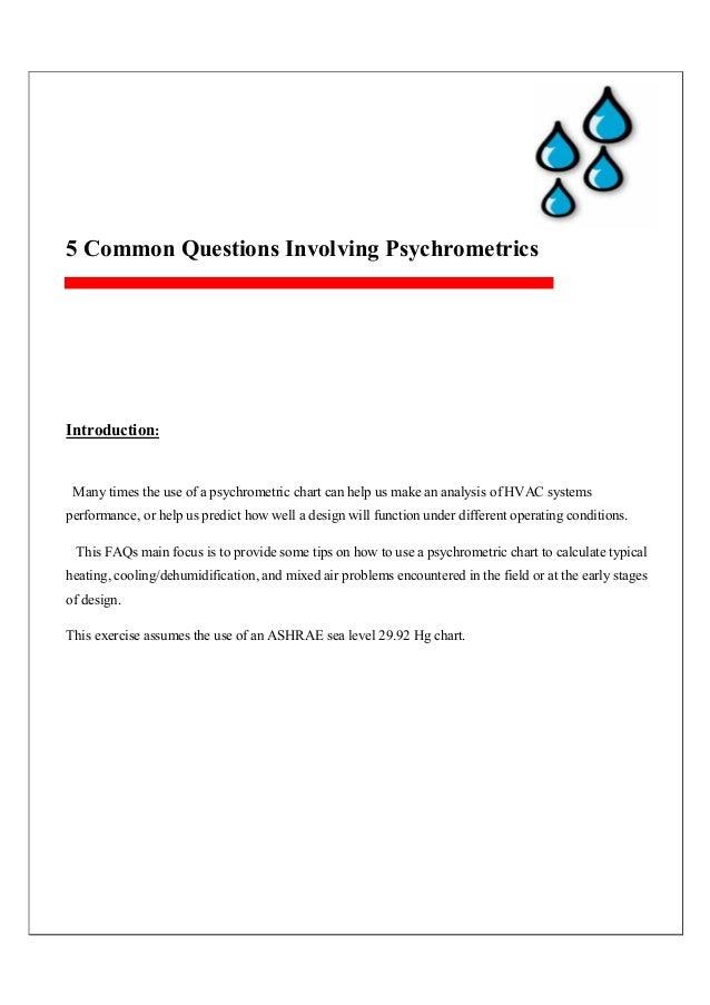 5 Common Questions Involving Psychrometrics