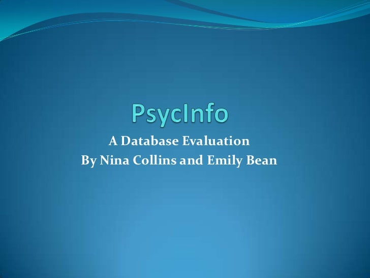 A Database EvaluationBy Nina Collins and Emily Bean
