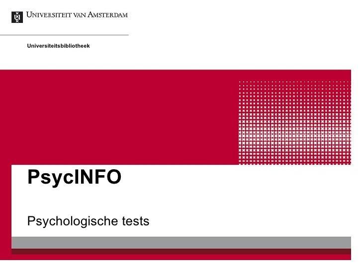 PsycINFO Psychologische tests Universiteitsbibliotheek