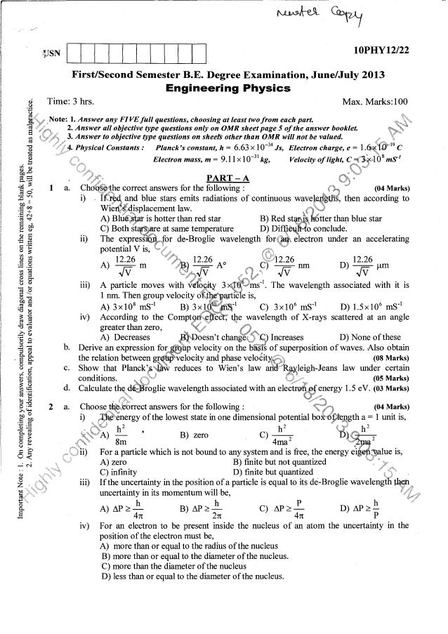 Physics sycle question papers july 2013 (1st Year BE)