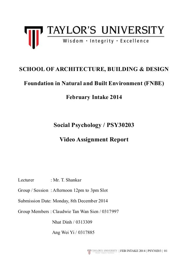 SCHOOL OF ARCHITECTURE, BUILDING & DESIGN  Foundation in Natural and Built Environment (FNBE)  February Intake 2014  Socia...