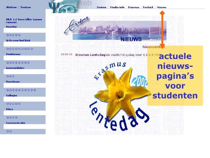 actuele nieuws-pagina's voor studenten