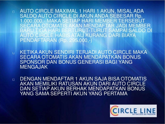 AUTO CIRCLE MAXIMAL 1 HARI 1 AKUN, MISAL ADA  SALDO AUTO CIRCLE DI AKUN ANDA SEBESAR Rp.  1.000,000,- MAKA SETIAP HARI MEM...