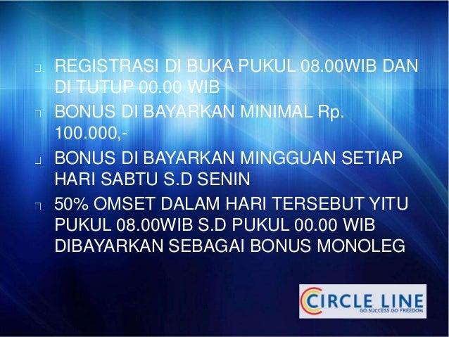 REGISTRASI DI BUKA PUKUL 08.00WIB DAN  DI TUTUP 00.00 WIB  BONUS DI BAYARKAN MINIMAL Rp.  100.000,-  BONUS DI BAYARKAN MIN...