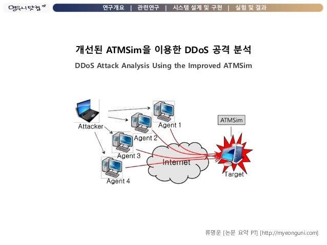 연구개요 | 관련연구 | 시스템 설계 및 구현 | 실험 및 결과 개선된 ATMSim을 이용한 DDoS 공격 분석 DDoS Attack Analysis Using the Improved ATMSim 류명운 [논문 요약 P...