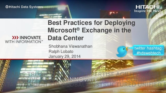 Best Practices for Deploying Microsoft® Exchange in the Data Center Shobhana Viswanathan Ralph Lobato January 29, 2014  tw...