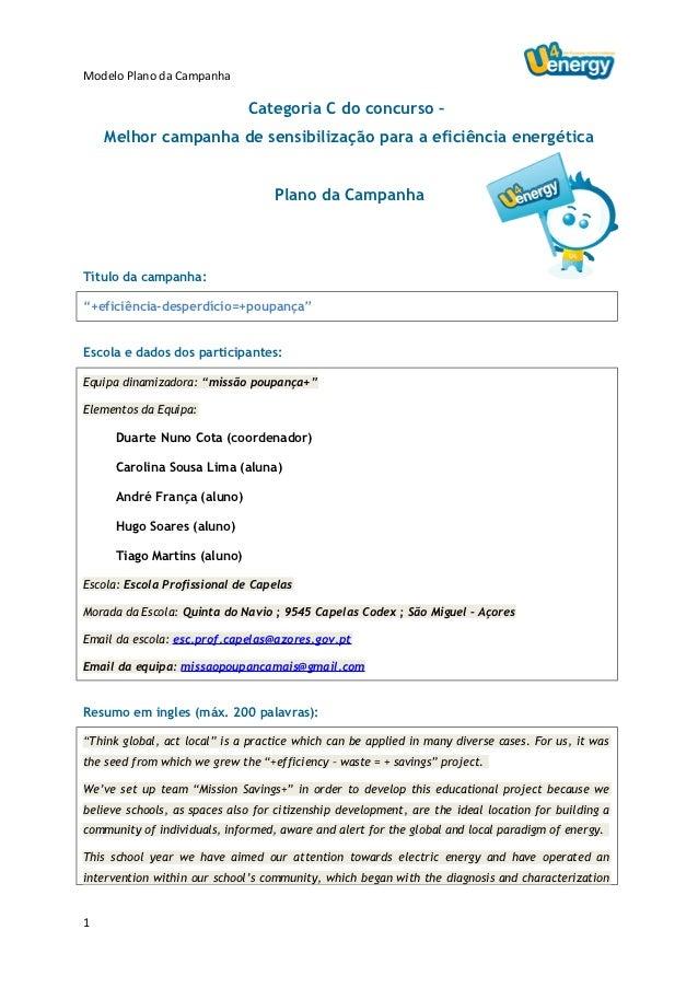 Modelo Plano da Campanha                              Categoria C do concurso –    Melhor campanha de sensibilização para ...