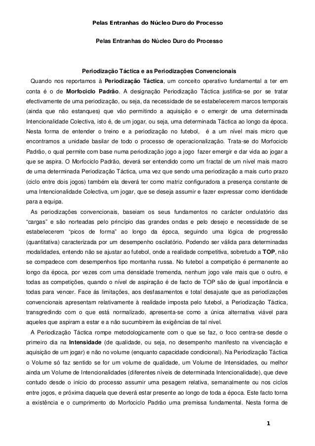 Pelas Entranhas do Núcleo Duro do Processo 1 Pelas Entranhas do Núcleo Duro do Processo Periodização Táctica e as Periodiz...