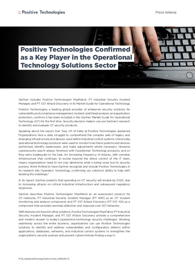 Positive Technologies Confirmed as a Key Player in the Operational Technology Solutions Sector Gartner includes Positive T...