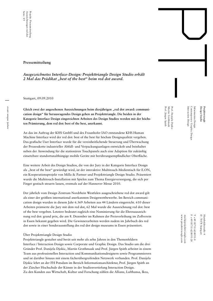 Seite: 1/5                        Auszeichnungen red dot                        Projekt: Pressemitteilung                 ...