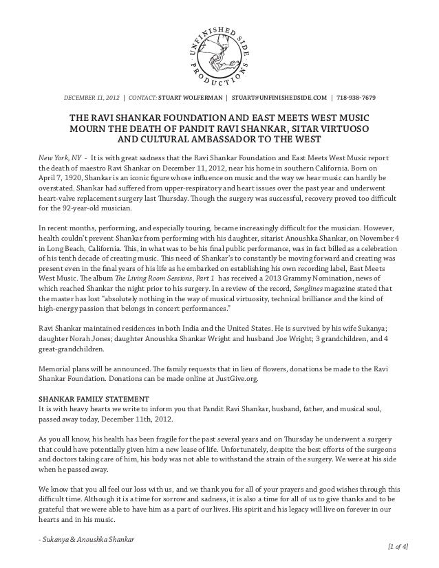 DECEMBER 11, 2012 | CONTACT: STUART WOLFERMAN | STUART@UNFINISHEDSIDE.COM | 718-938-7679          THE RAVI SHANKAR FOUNDAT...