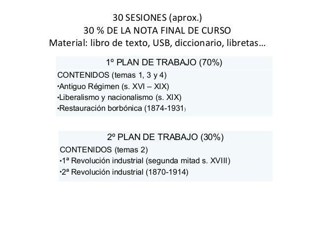 30 SESIONES (aprox.)  30 % DE LA NOTA FINAL DE CURSO  Material: libro de texto, USB, diccionario, libretas…  1º PLAN DE TR...
