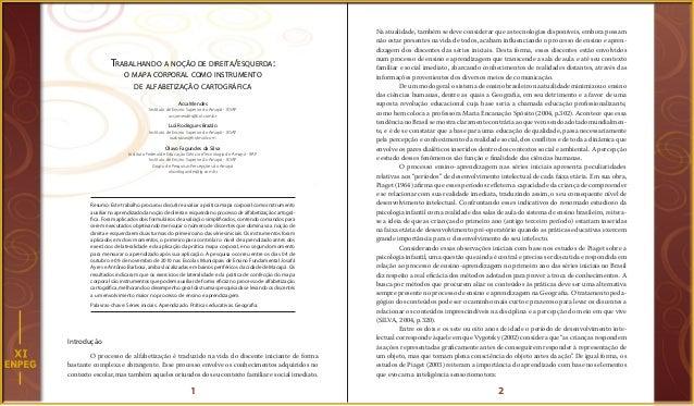 1 2 Trabalhando a noção de direita/esquerda: o mapa corporal como instrumento de alfabetização cartográfica Acsa Mendes In...