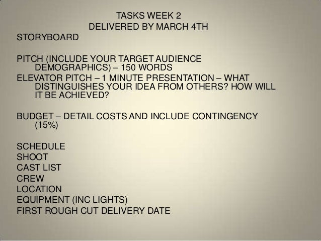 TASKS WEEK 2             DELIVERED BY MARCH 4THSTORYBOARDPITCH (INCLUDE YOUR TARGET AUDIENCE    DEMOGRAPHICS) – 150 WORDSE...