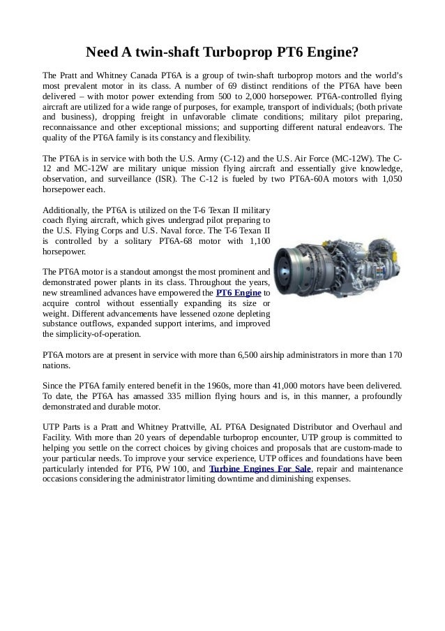 Looking For The Best PT6 Engine At Affordable Prices?