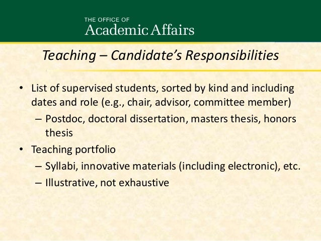 Doctoral Supervisory Committee Roles and Responsibilities