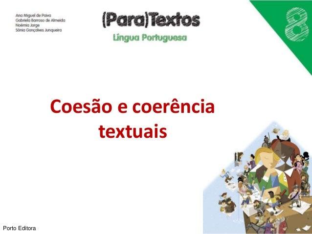 Coesão e coerência textuais Porto Editora