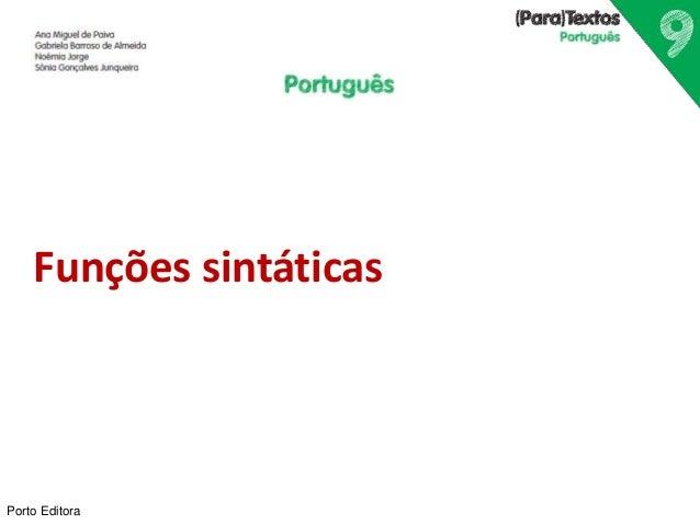 Funções sintáticas  Porto Editora